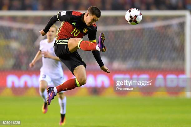 Eden Hazard midfielder of Belgium in action during the World Cup Qualifier Group H match between Belgium and Estonia at the King Baudouin Stadium on...