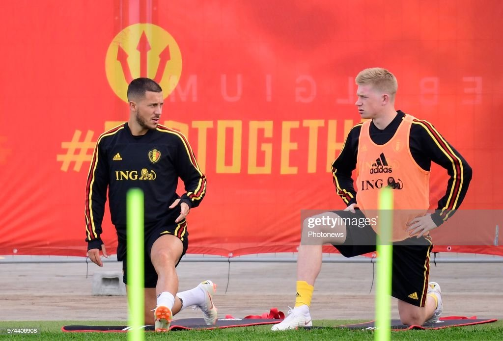 Eden Hazard midfielder of Belgium, Kevin De Bruyne forward of Belgium during a training session of the National Soccer Team of Belgium as part of the preparation prior to the FIFA 2018 World Cup Russia group G phase match between Belgium and Panama at the Guchkova Sports center in Dedovsk on June 14, 2018 in Moscow, Russia,