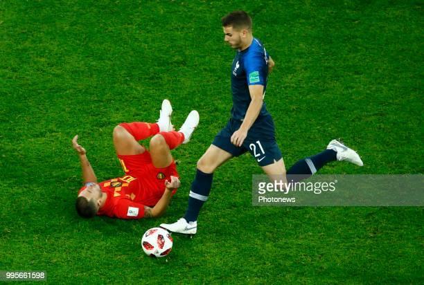 Eden Hazard midfielder of Belgium Lucas Hernandez defender of France during the FIFA 2018 World Cup Russia SemiFinal match between France and Belgium...