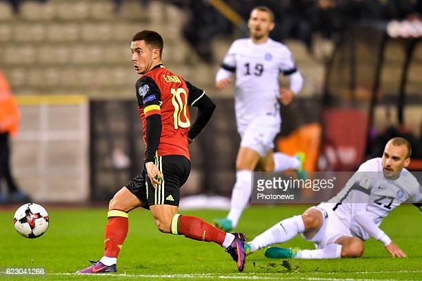 Eden Hazard midfielder of Belgium on his way to score during the World Cup Qualifier Group H match between Belgium and Estonia at the King Baudouin...