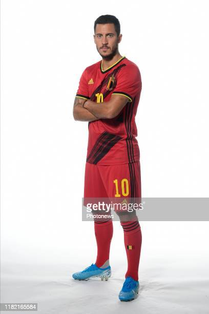 Eden Hazard midfielder of Belgium pictured during a photo session presenting the new jersey of the Belgian National Football Team prior to the Euro...