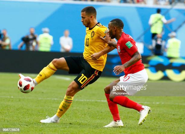 Eden Hazard midfielder of Belgium Raheem Sterling forward of England during the FIFA 2018 World Cup Russia Playoff for third place match between...