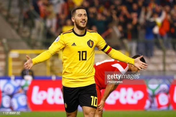 Eden Hazard midfielder of Belgium scores and celebrates during the European Qualifier Group I match between Belgium and Russia at the King Baudouin...