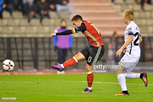 Eden Hazard midfielder of Belgium scores during the World Cup Qualifier Group H match between Belgium and Estonia at the King Baudouin Stadium on...
