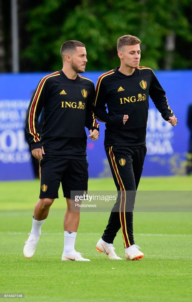 Eden Hazard midfielder of Belgium, Thorgan Hazard midfielder of Belgium; during a training session of the National Soccer Team of Belgium as part of the preparation prior to the FIFA 2018 World Cup Russia group G phase match between Belgium and Panama at the Guchkova Sports center in Dedovsk on June 14, 2018 in Moscow, Russia,