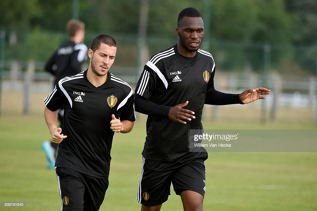 Eden Hazard of Belgium and Christian Benteke of Belgium during a training session of the National Soccer Team of Belgium as part of the training camp prior to the friendly game against France and the UEFA Euro 2016 qualifying game against Wales in Bordeaux, France.