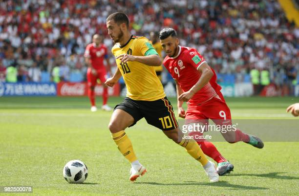 Eden Hazard of Belgium Anice Badri of Tunisia during the 2018 FIFA World Cup Russia group G match between Belgium and Tunisia at Spartak Stadium on...
