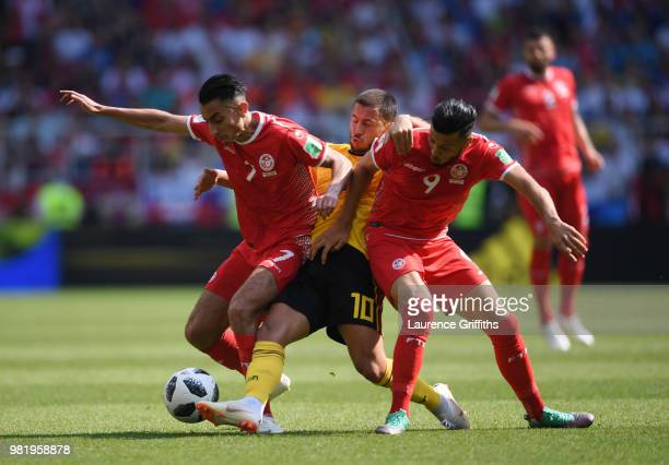Eden Hazard of Belgium battles for possession with Anice Badri and Saifeddine Khaoui of Tunisia during the 2018 FIFA World Cup Russia group G match...