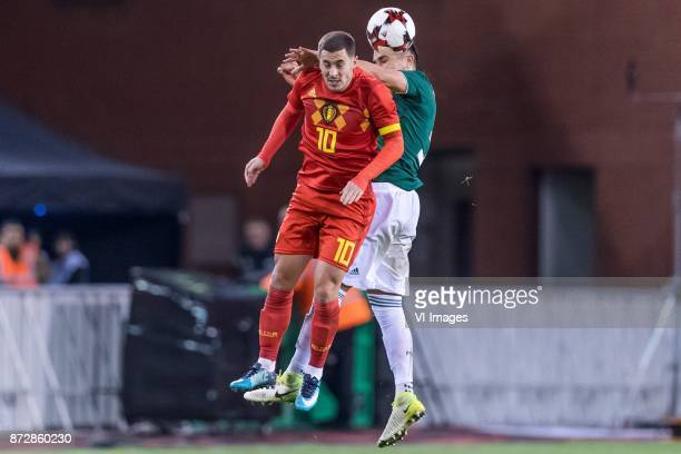 Eden Hazard of Belgium Carlos Salcedo of Mexico during the friendly match between Belgium and Mexico on November 10 2017 at the Koning Boudewijn...
