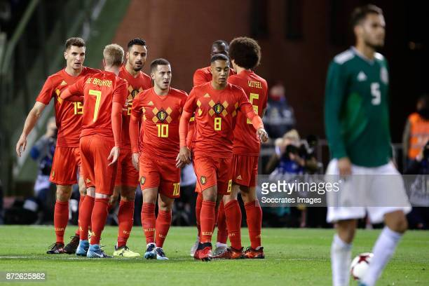 Eden Hazard of Belgium celebrates 10 withThomas Meunier of Belgium Kevin de Bruyne of Belgium Nacer Chadli of Belgium Youri Tielemans of Belgium Axel...