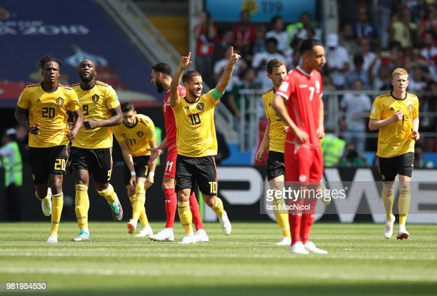 Eden Hazard of Belgium celebrates after he scores his team's first goal during the 2018 FIFA World Cup Russia group G match between Belgium and...