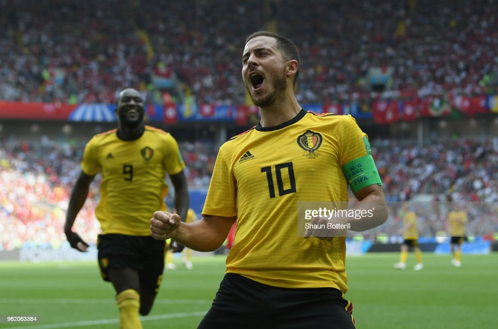 Eden Hazard of Belgium celebrates after scoring during the 2018 FIFA World Cup Russia group G match between Belgium and Tunisia at Spartak Stadium on June 23, 2018 in Moscow, Russia.