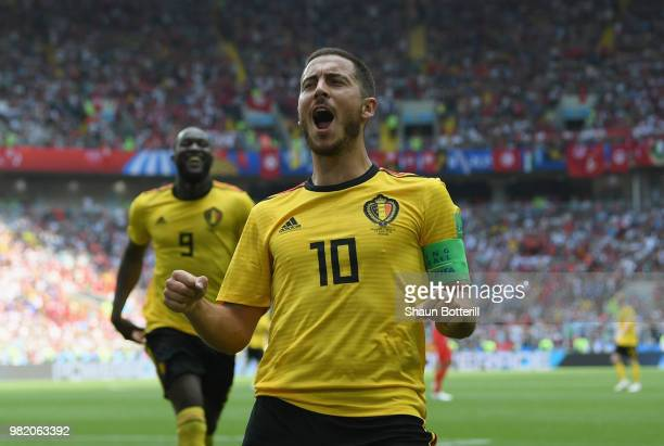 Eden Hazard of Belgium celebrates after scoring during the 2018 FIFA World Cup Russia group G match between Belgium and Tunisia at Spartak Stadium on...