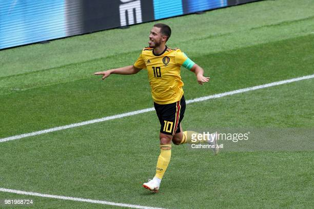 Eden Hazard of Belgium celebrates after scoring his team's fourth goal during the 2018 FIFA World Cup Russia group G match between Belgium and...