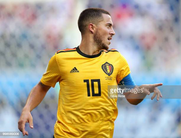 Eden Hazard of Belgium celebrates after scoring his team's second goal during the 2018 FIFA World Cup Russia 3rd Place Playoff match between Belgium...