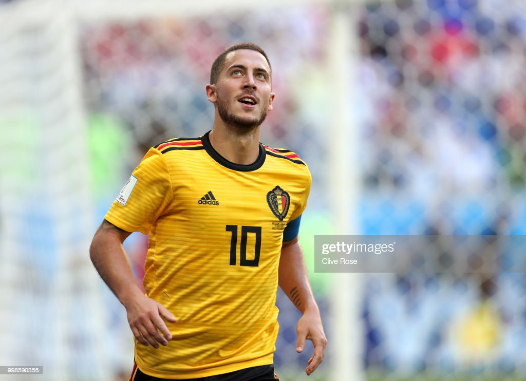 1bc89f6ab7a Eden Hazard of Belgium celebrates his second goal during the 2018
