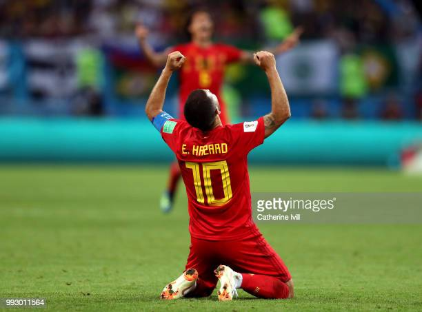 Eden Hazard of Belgium celebrates following his sides victory in the 2018 FIFA World Cup Russia Quarter Final match between Brazil and Belgium at...