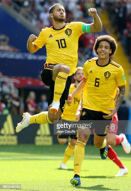 Eden Hazard of Belgium celebrates his first goal with Axel Witsel during the 2018 FIFA World Cup Russia group G match between Belgium and Tunisia at...