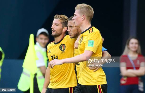 Eden Hazard of Belgium celebrates his goal between Dries Mertens and Kevin De Bruyne during the 2018 FIFA World Cup Russia 3rd Place Playoff match...