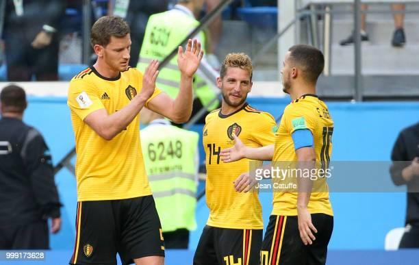 Eden Hazard of Belgium celebrates his goal Jan Vertonghen Dries Mertens during the 2018 FIFA World Cup Russia 3rd Place Playoff match between Belgium...