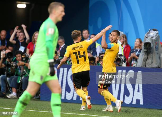 Eden Hazard of Belgium celebrates his goal with Dries Mertens during the 2018 FIFA World Cup Russia 3rd Place Playoff match between Belgium and...