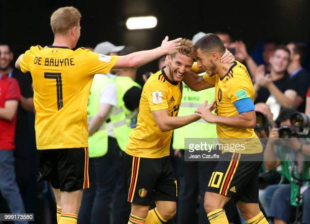 Eden Hazard of Belgium celebrates his goal with Dries Mertens Kevin De Bruyne during the 2018 FIFA World Cup Russia 3rd Place Playoff match between...
