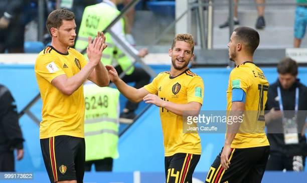 Eden Hazard of Belgium celebrates his goal with Jan Vertonghen Dries Mertens during the 2018 FIFA World Cup Russia 3rd Place Playoff match between...