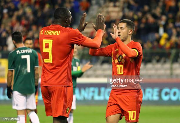 Eden Hazard of Belgium celebrates his goal with Romelu Lukaku during the international friendly match between Belgium and Mexico at King Baudouin...