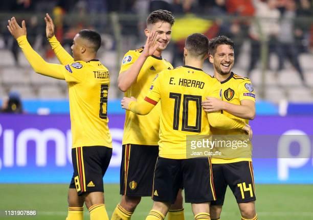 Eden Hazard of Belgium celebrates his second goal with Youri Tielemans Leander Dendoncker Dries Mertens during the 2020 UEFA European Championships...