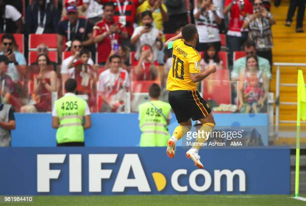 Eden Hazard of Belgium celebrates scoring a goal to make it 4-1 during the 2018 FIFA World Cup Russia group G match between Belgium and Tunisia at...