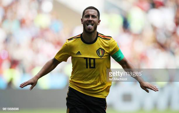 Eden Hazard of Belgium celebrates scoring his team's fourth goal during the 2018 FIFA World Cup Russia group G match between Belgium and Tunisia at...