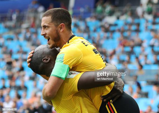 Eden Hazard of Belgium celebrates scoring his team's fourth goal with Romelu Lukaku of Belgium during the 2018 FIFA World Cup Russia group G match...