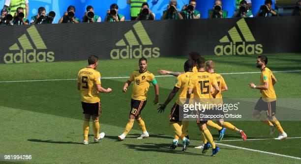 Eden Hazard of Belgium celebrates the opening goal during the 2018 FIFA World Cup Russia Group G match between Belgium and Tunisia at Spartak Stadium...
