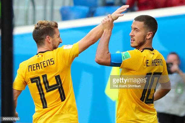 Eden Hazard of Belgium celebrates their team's second goal with his team mate Dries Mertens during the FIFA 2018 World Cup Russia Playoff for third...