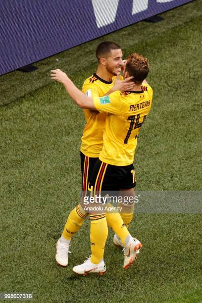 Eden Hazard of Belgium celebrates with his teammate Dries Mertens after scoring a goal during the 2018 FIFA World Cup Russia PlayOff for Third Place...
