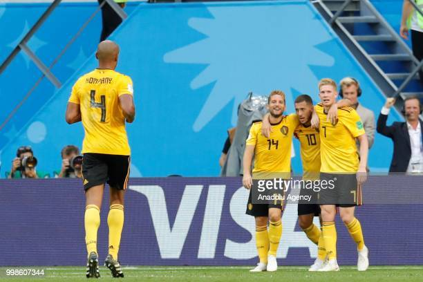 Eden Hazard of Belgium celebrates with his teammates Dries Mertens and Kevin de Bruyne after scoring a goal during the 2018 FIFA World Cup Russia...