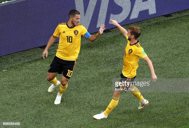 Eden Hazard of Belgium celebrates with teammate Dries Mertens after scoring his team's second goal during the 2018 FIFA World Cup Russia 3rd Place...