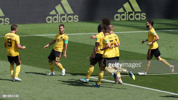 Eden Hazard of Belgium celebrates with teammates after scoring his team's first goal during the 2018 FIFA World Cup Russia group G match between...