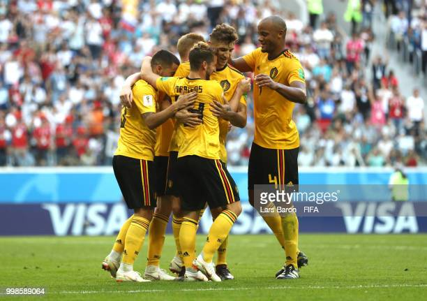 Eden Hazard of Belgium celebrates with teammates after scoring his team's second goal during the 2018 FIFA World Cup Russia 3rd Place Playoff match...
