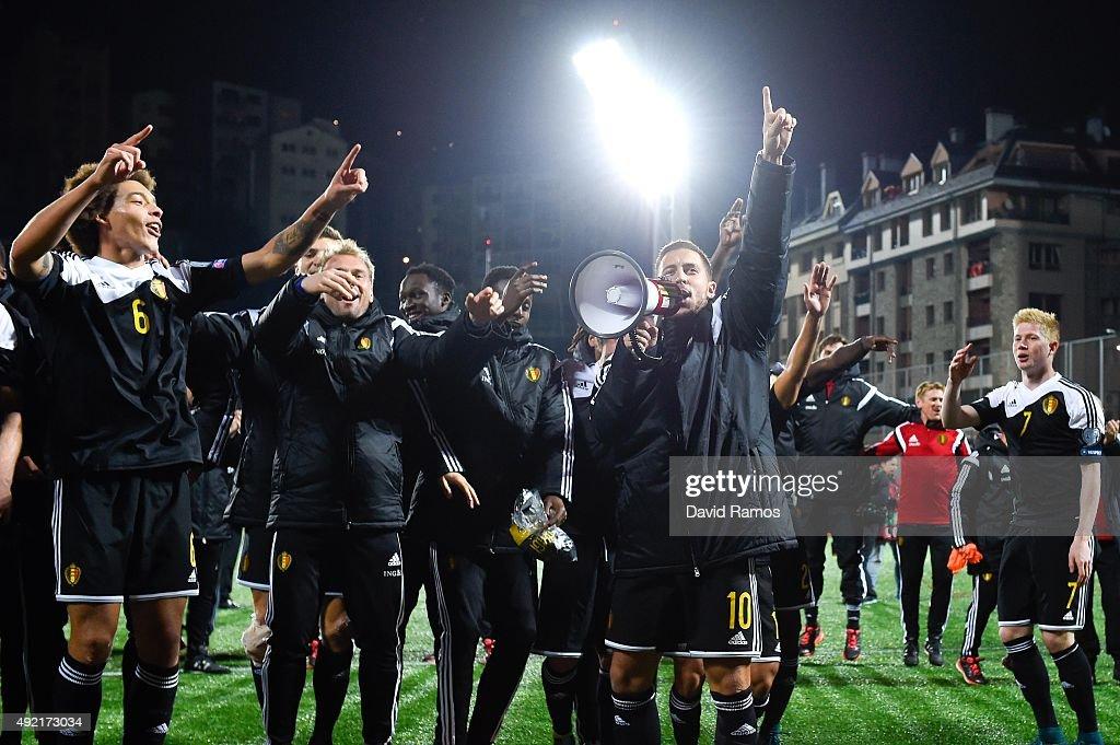 Eden Hazard of Belgium celebrates with this teammates after defeating andorra at the end of the UEFA EURO 2016 Qualifier match between Andorra and Belgium at Estadi Nacional d'Andorra la Vella on October 10, 2015 in Andorra la Vella, Andorra.