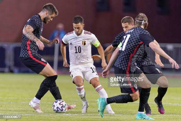 Eden Hazard of Belgium competes for the ball during the international friendly match between Belgium and Croatia at King Baudouin Stadium on June 6,...