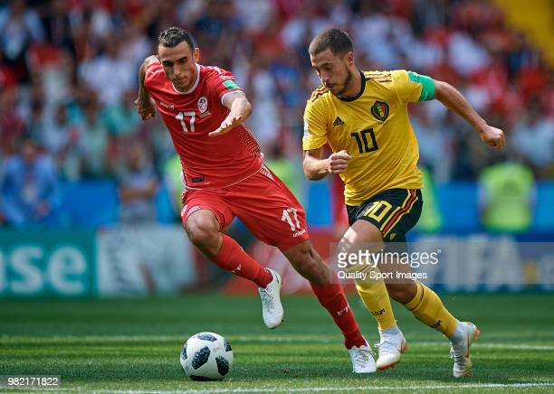 Eden Hazard of Belgium competes for the ball with Ellyes Skhiri of Tunisia during the 2018 FIFA World Cup Russia group G match between Belgium and...