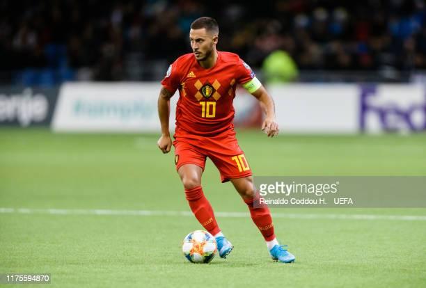 Eden Hazard of Belgium controls the ball during the UEFA Euro 2020 qualifier between Kazakhstan and Belgium on October 13, 2019 in Astana, Kazakhstan.