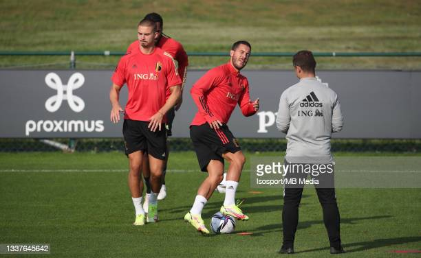 """Eden Hazard of Belgium during a training session of the Belgian national soccer team """" The Red Devils """" ahead of the upcoming FIFA World Cup Qatar..."""