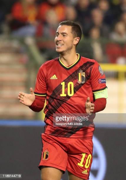 Eden Hazard of Belgium during the UEFA Euro 2020 Qualifier between Belgium and Cyprus on November 19, 2019 in Brussels, Belgium.