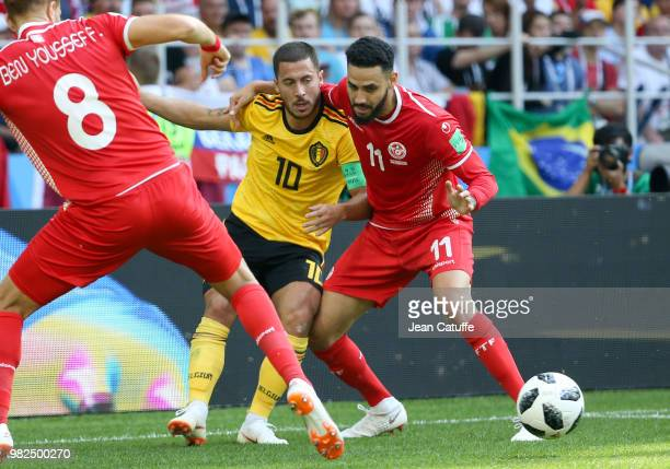 Eden Hazard of Belgium Dylan Bronn of Tunisia during the 2018 FIFA World Cup Russia group G match between Belgium and Tunisia at Spartak Stadium on...
