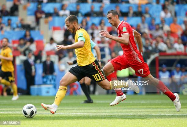 Eden Hazard of Belgium Ellyes Skhiri of Tunisia during the 2018 FIFA World Cup Russia group G match between Belgium and Tunisia at Spartak Stadium on...