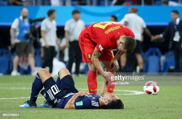 Eden Hazard of Belgium greets Shinji Kagawa of Japan following the 2018 FIFA World Cup Russia Round of 16 match between Belgium and Japan at Rostov...