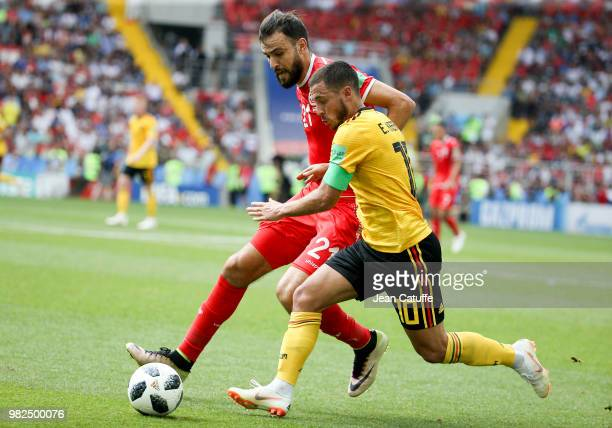 Eden Hazard of Belgium Hamdi Nagguez of Tunisia during the 2018 FIFA World Cup Russia group G match between Belgium and Tunisia at Spartak Stadium on...