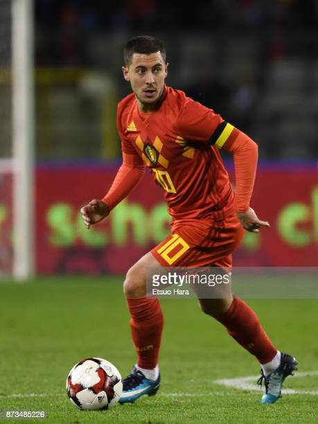 Eden Hazard of Belgium in action during the international friendly match between Belgium and Mexico at King Baudouin Stadium on November 10 2017 in...